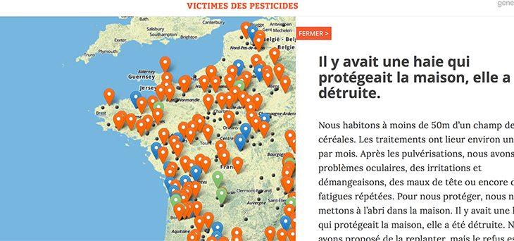 Carte des victimes de pesticides