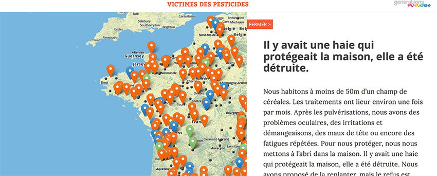Carte des victimes de pesticides